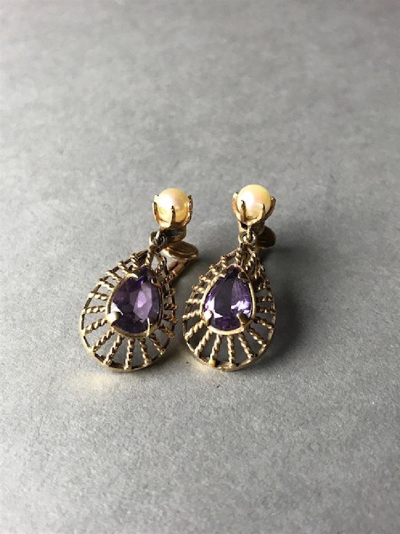 Pair Of 14K Gold Amethyst & Pearl Earrings