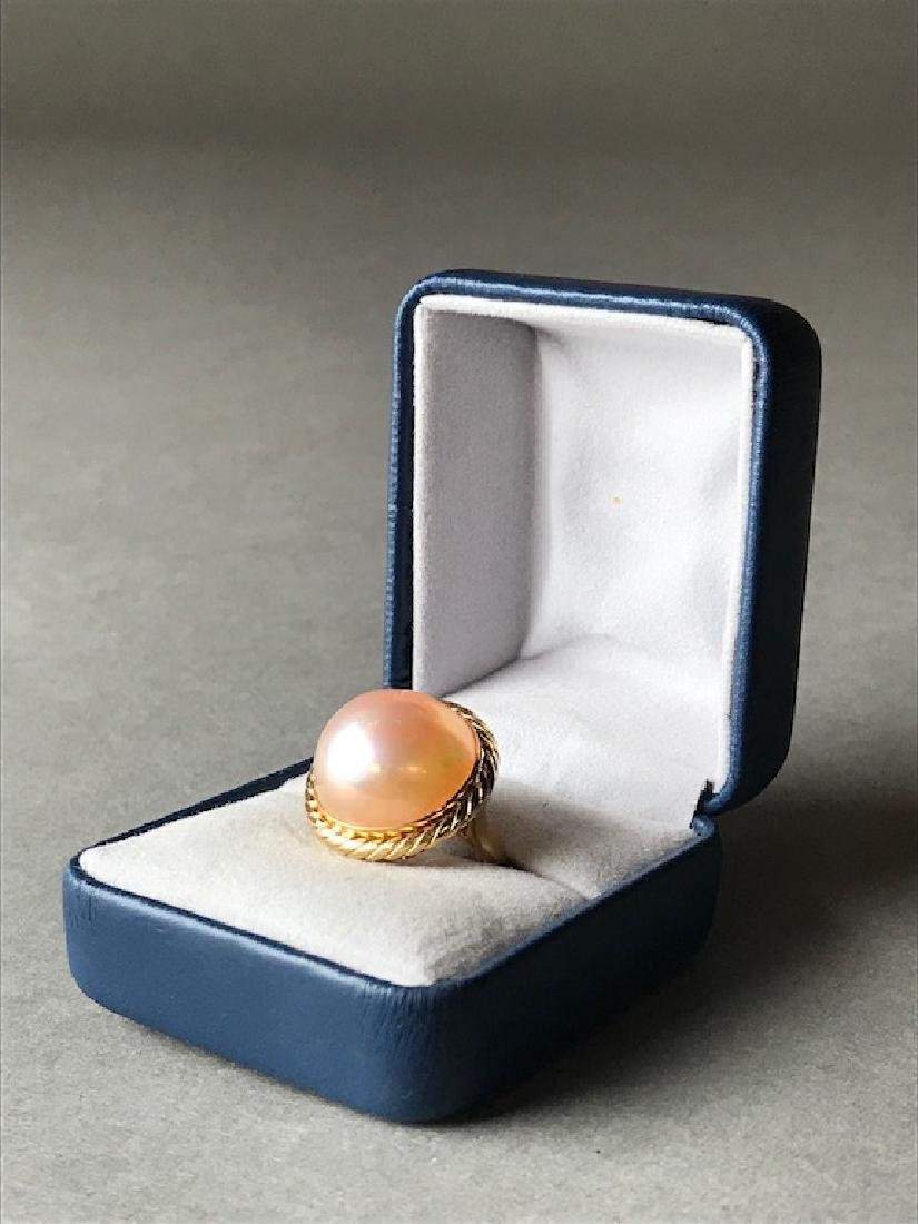 18K Gold & Mabe Pearl Estate Ring