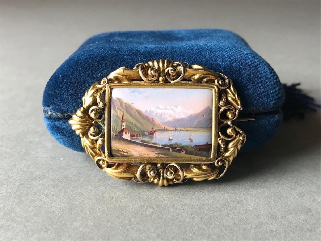 18K Gold Swiss Enamel Painted Brooch