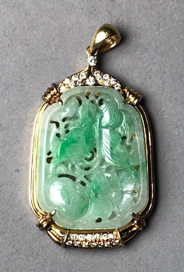 18K Gold Jade & Diamond Pendant