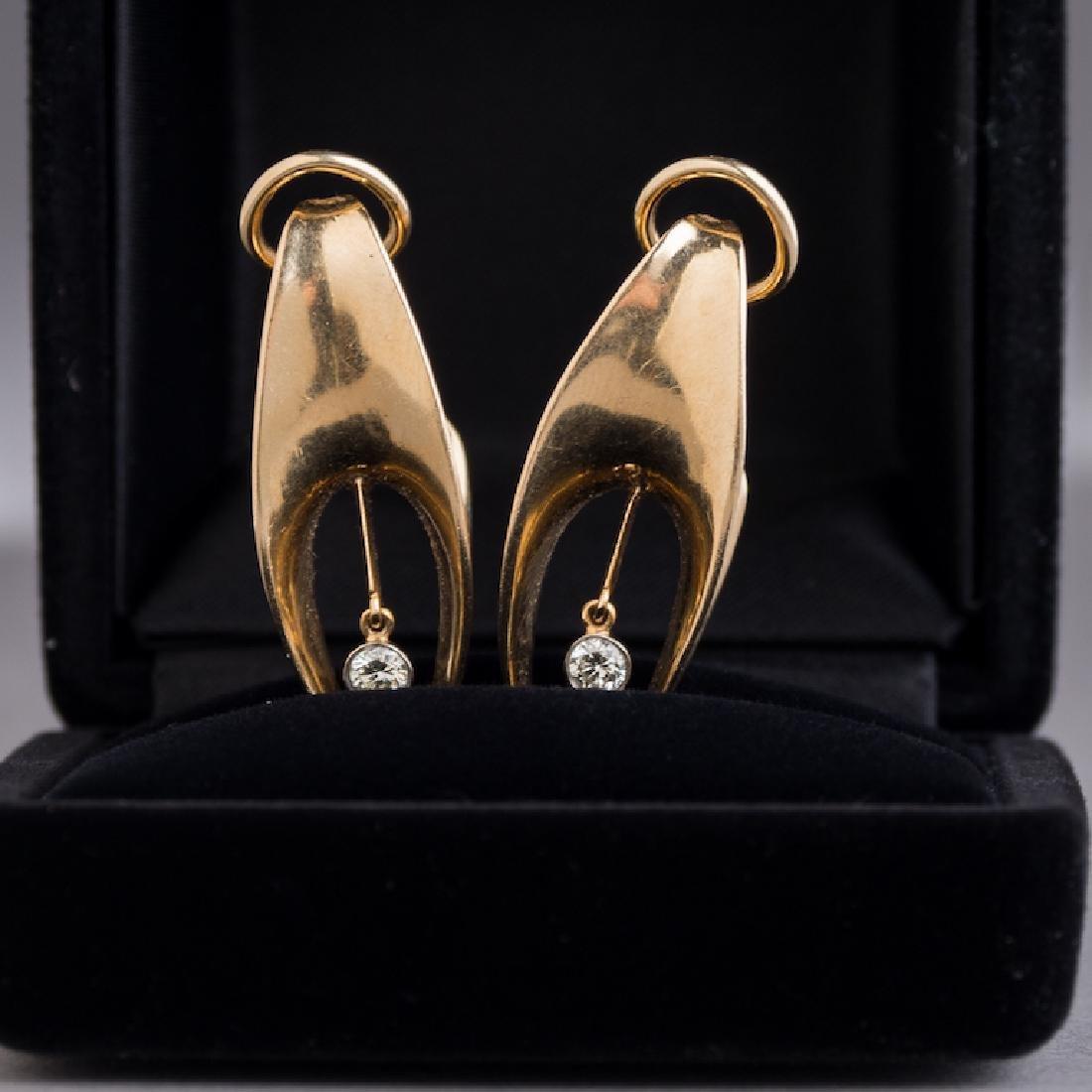 14K Gold & Diamond Estate Earrings