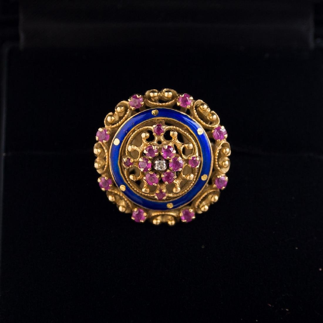 18K Gold Enamel & Ruby Princess Ring