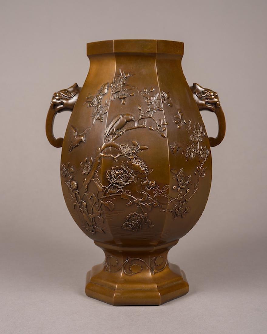 Japanese Patinated Bronze Hexagonal Vase