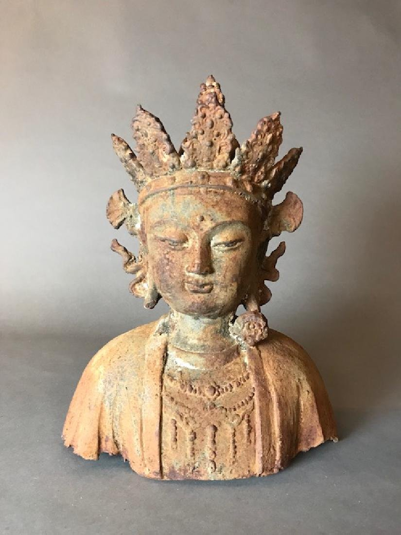 Thai Antique Iron Buddha Bust
