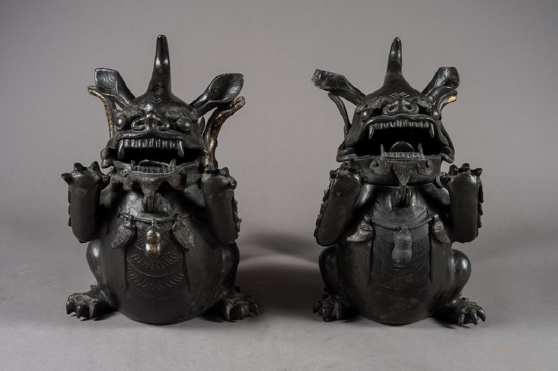 Pair Of 17Th C. Chinese Bronze Temple Beasts