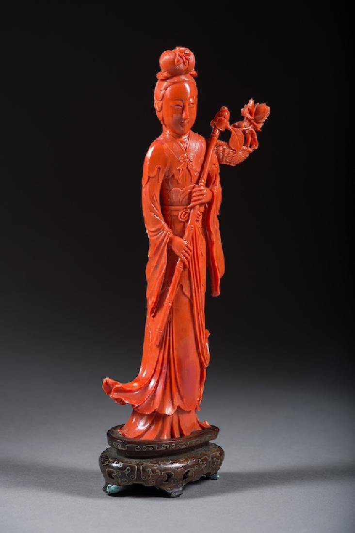 Large Chinese Dark Red Coral Lady