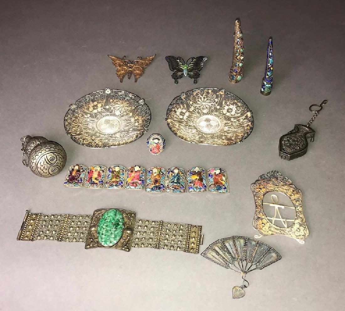 Lot Of Chinese Silver, Enamel & Jadeite