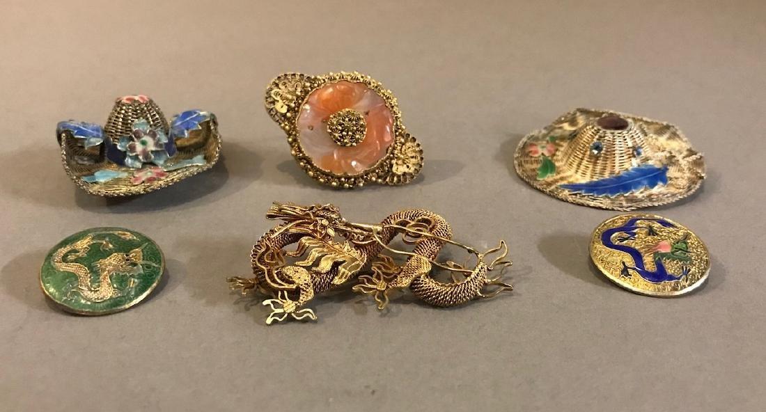 Lot Vintage Chinese Silver & Enamel