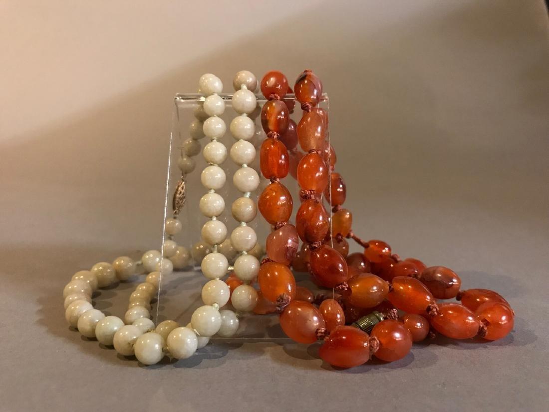 Chinese Jadeite & Carnelian Necklace