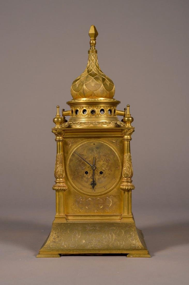 French Gilt Bronze Tabernacle Clock
