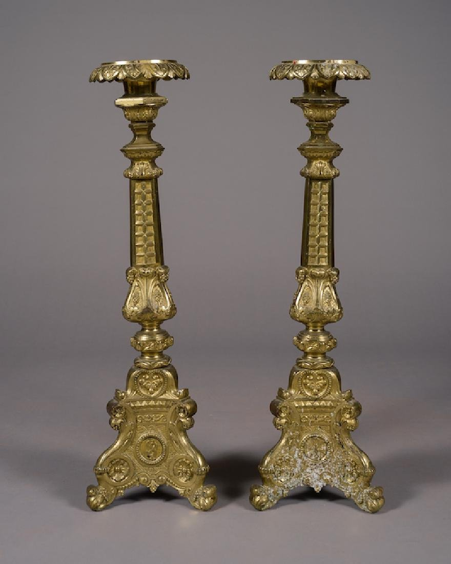 Large Pair Of Gilt Altar Candle Sticks