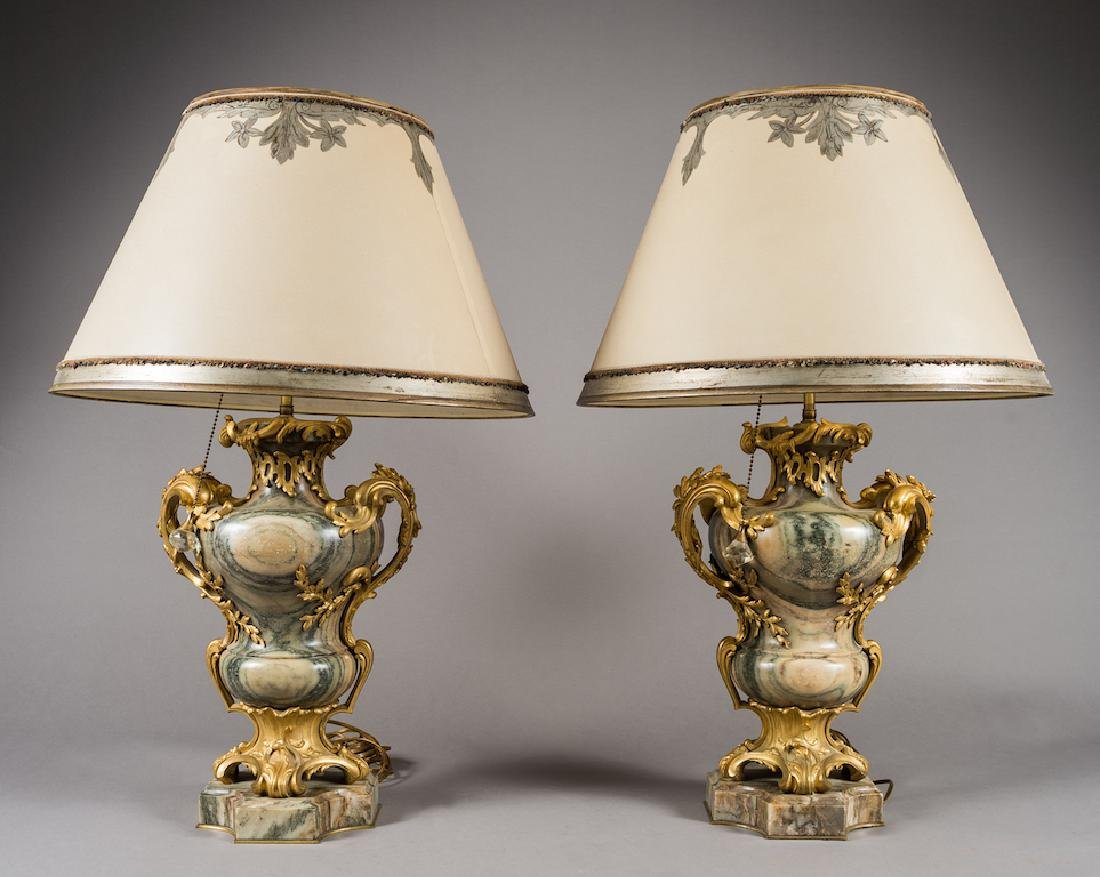 Pair Of French Ormolu Mounted Lamps