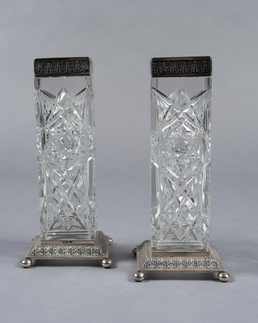 Pair Of Old Baccarat Cut Crystal Vases