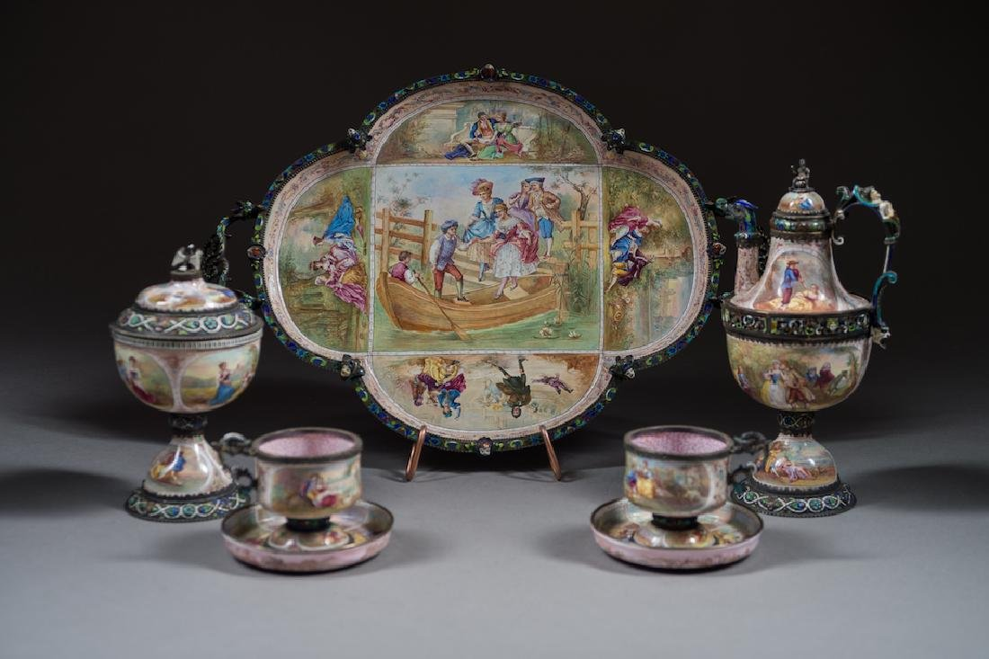 Viennese Silver Enamel Tea Service