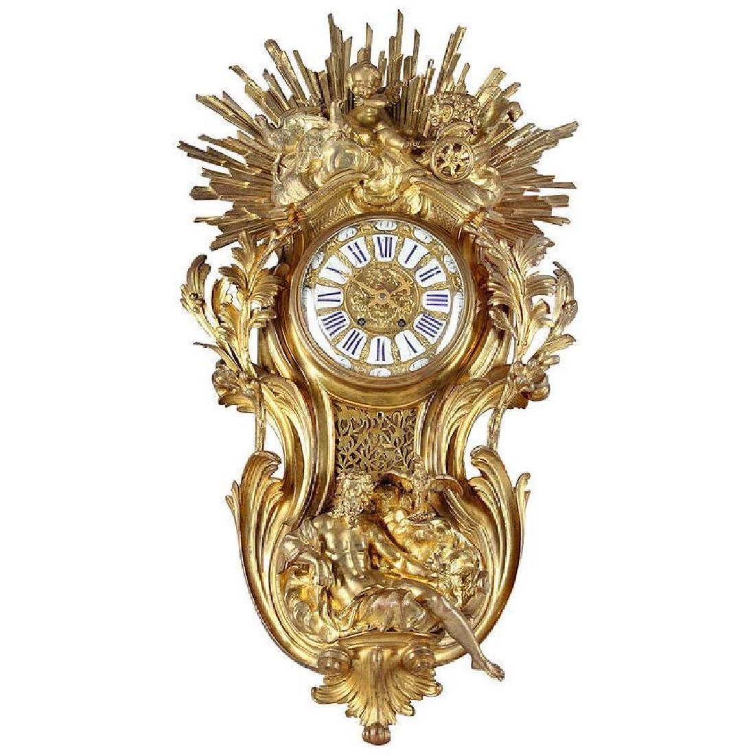 Massive French Bronze Cartel Clock