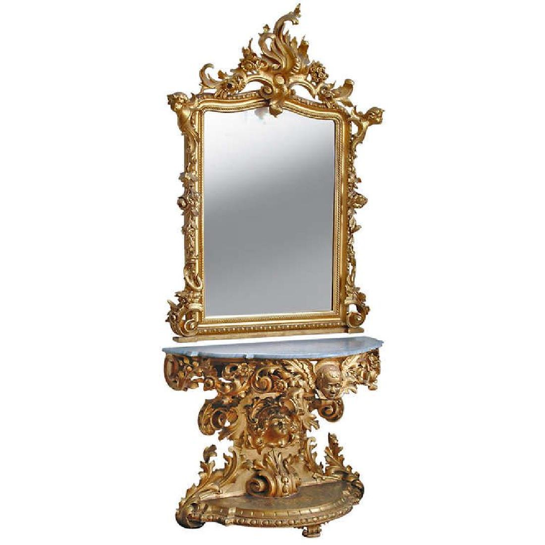 Monumental Carved Mirror & Console