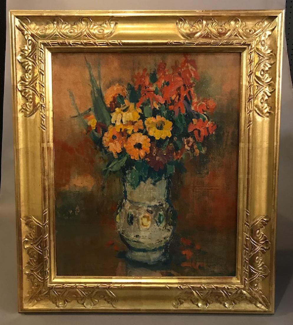 Old Oil on Board Bouquet Painting