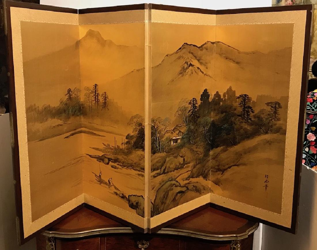 Vintage Japanese Laquered Screen