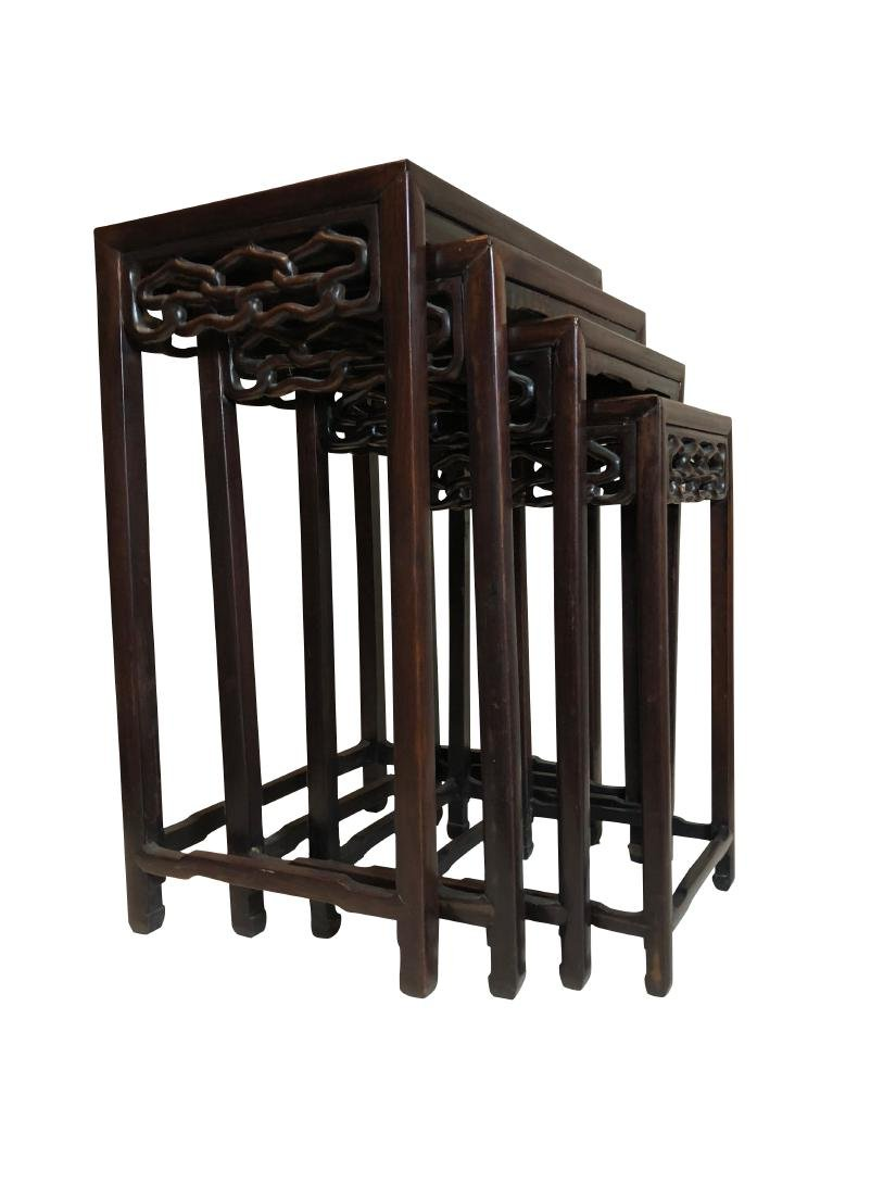 Chinese Rosewood Carved Nest Of Tables