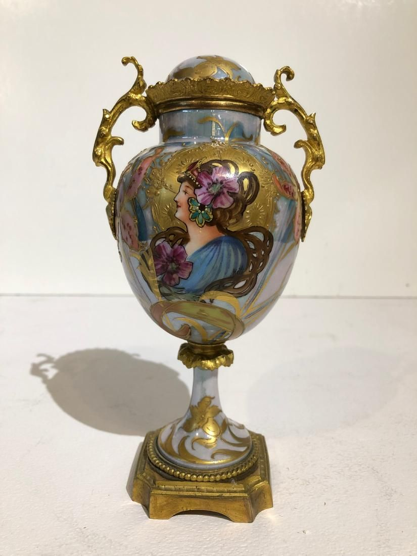 French Sevres Art Nouveau Gilt Bronze Mounted Lidded
