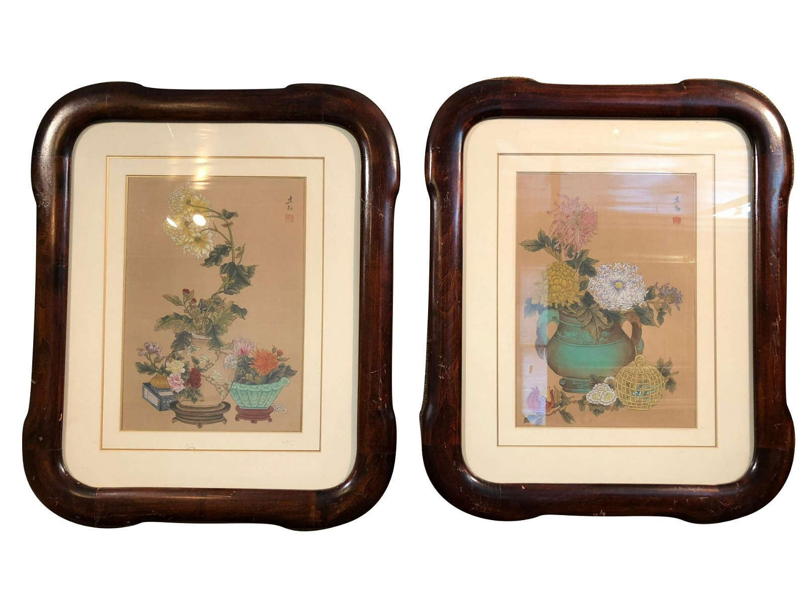 Pair of Vintage Chinese Framed Water Colors