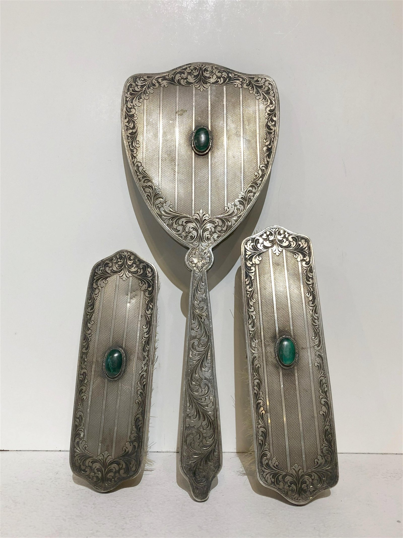 Three Piece Continental Repousse Silver Vanity Set