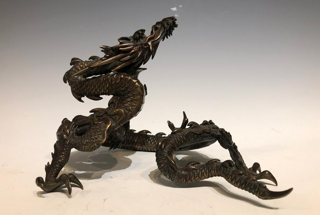 Japanese Bronze Cast Dragon Candle Holder