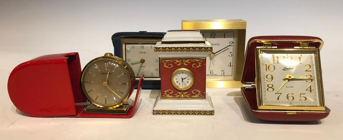 Five Vintage Desk Clocks,Tiffany,Versace,Bucherer
