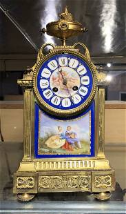 19th C. French Bronze & Sevres Style Porcelain Clock