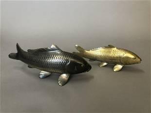 Pair of Japanese Silvered Gilt Bronze Koi FishSigned
