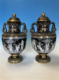 Pair of Mintons PateSurPate Style Lidded Vases