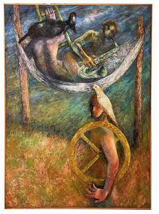 Joseph Urie The Soldier Gambler Musician Large Oil