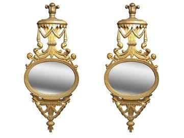 Pair of Carved Gorgian Wall Mirrors, Circa 1870