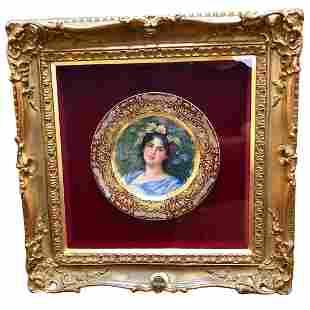 Royal Vienna Style Art Nouveau Painted Beauty Circa