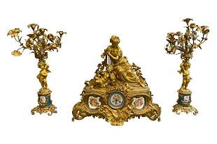 French Napoleon III Gilt Bronze Garniture Set
