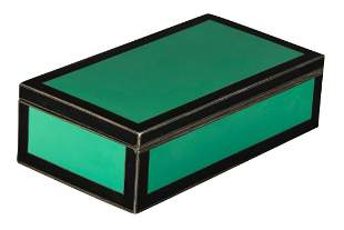 Art Deco Silver Green & Black Enamel Rectangular Box