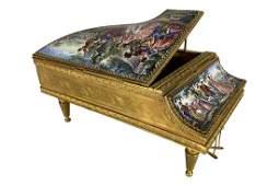 Austrian Viennese Enamel Painted Piano Music Box