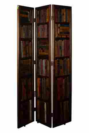 English 3-Panel Leather Bound Book Case Screen Circa