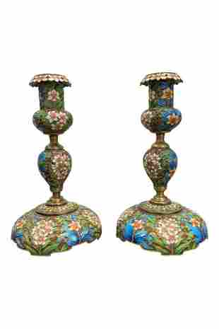 A Pair of Russian Silver Enameled Candle Sticks
