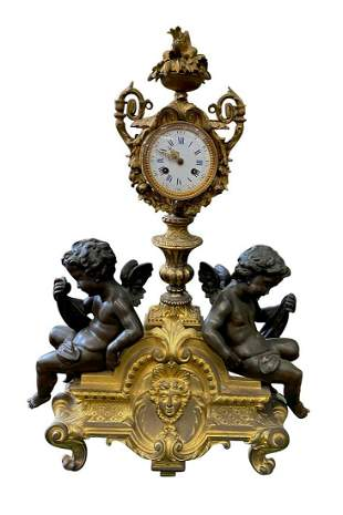 Napoleon III Gilt Bronze Mounted Mantel Clock