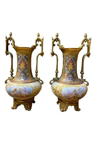 A Pair of French Gilt Bronze Champleve Enamel Vases