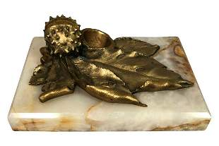 Arthur Gangand (French, b 1863) Gilt Bronze Inkwell