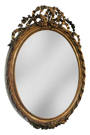 French Carved Gilt Wood Wall Mirror, Circa 1900