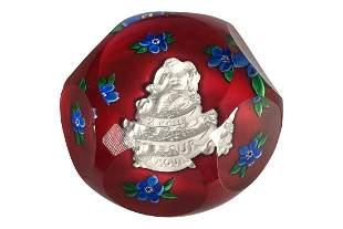 St Louis Blue Millefiori Art Glass Paperweight Original