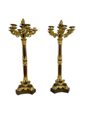 A Pair of French Empire Style Gilt Bronze Candelbras