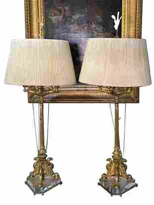 A Pair of French Empire Style Gilt Bronze and Lucite