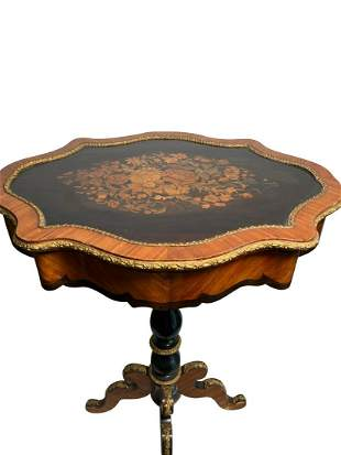 A French Marquetry Inlaid Mounted Side Table