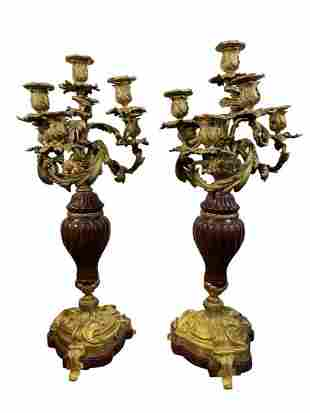 Pair of French Louis XV Style Bronze & Marble