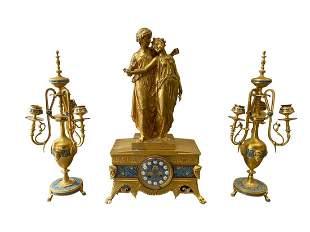 French Gilt Bronze Champleve Enamel Clock Garniture