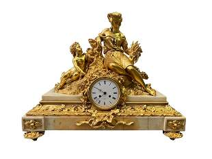 19th Century French Gilt Bronze & Marble Mantle Clock